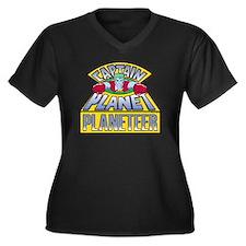 Cute Captainplanettv Women's Plus Size V-Neck Dark T-Shirt