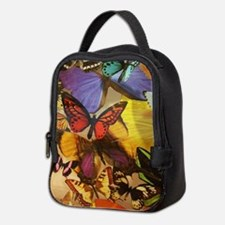 girly summer colorful butterfly Neoprene Lunch Bag