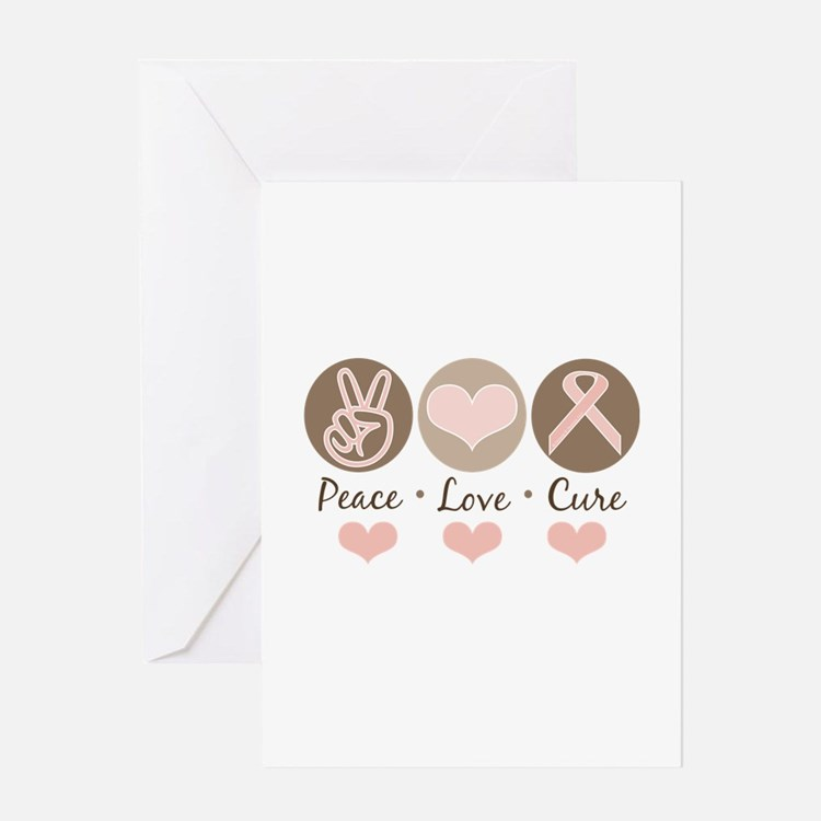 Peace Love Cure Pink Ribbon Greeting Card