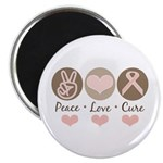 Peace Love Cure Pink Ribbon 2.25