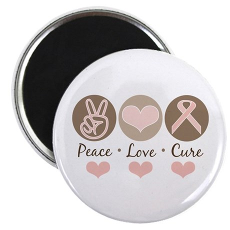 """Peace Love Cure Pink Ribbon 2.25"""" Magnet (100 pack"""
