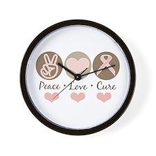 Peace Love Cure Pink Ribbon Wall Clock