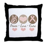 Peace Love Cure Pink Ribbon Throw Pillow