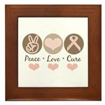 Peace Love Cure Pink Ribbon Framed Tile