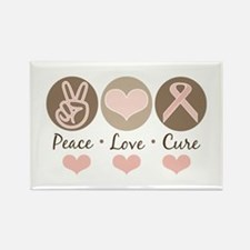 Peace Love Cure Pink Ribbon Rectangle Magnet