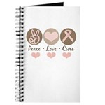 Peace Love Cure Pink Ribbon Journal Diary Notebook