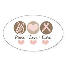 Peace Love Cure Pink Ribbon Oval Decal