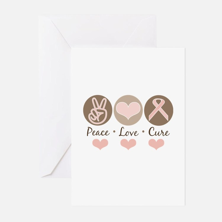 Peace Love Cure Pink Ribbon Greeting Cards 20 Pk