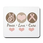 Peace Love Cure Pink Ribbon Mousepad