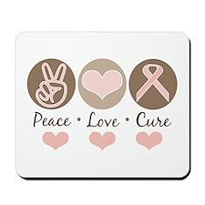 Peace Love Cure Pink Ribbon Mousepad