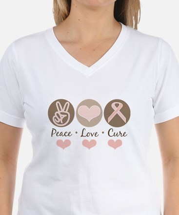 Peace Love Cure Pink Ribbon Shirt