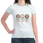 Peace Love Cure Pink Ribbon Jr. Ringer T-Shirt