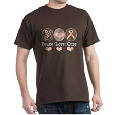 Peace Love Cure Pink Ribbon Brown T-Shirt