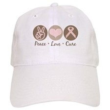 Peace Love Cure Pink Ribbon Baseball Cap