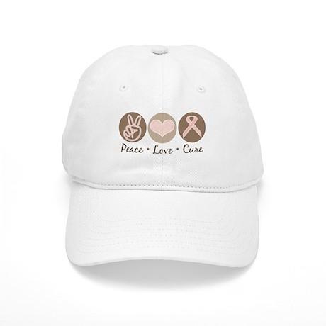 Peace Love Cure Pink Ribbon Cap