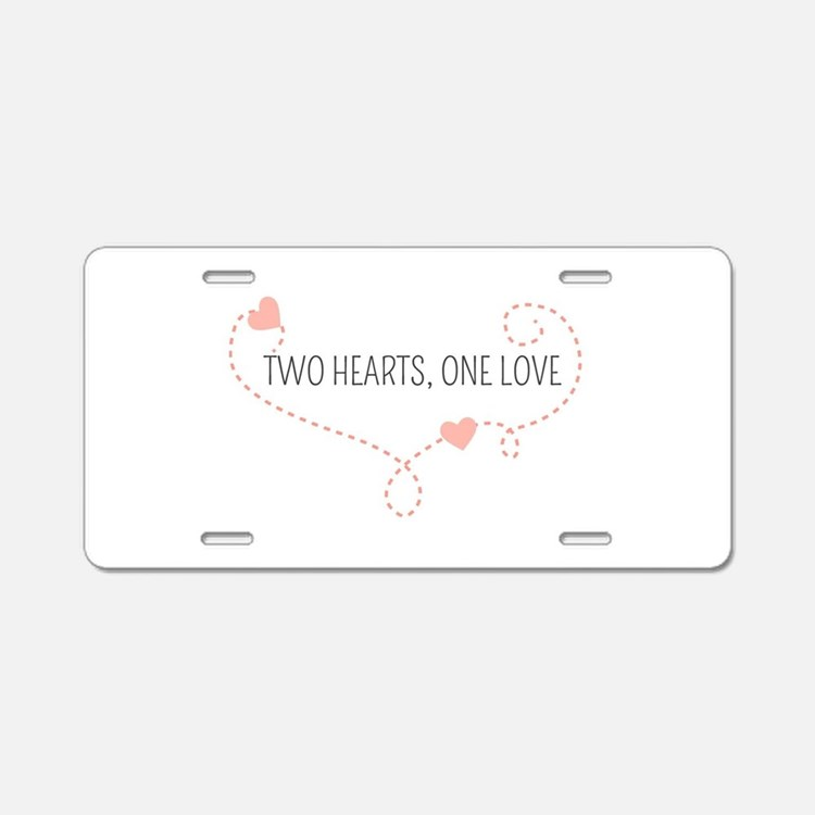 Cute Two flags one heart Aluminum License Plate