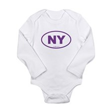 New York NY Euro Oval Long Sleeve Infant Bodysuit