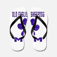Old English Sheepdog mom designs Flip Flops