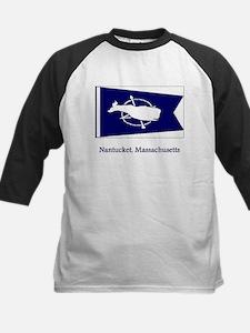 Nantucket MA Flag Kids Baseball Jersey