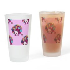 afro floral Drinking Glass