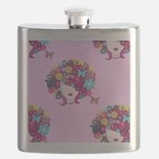 afro floral Flask