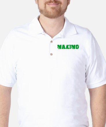 Maximo Name Weathered Green Design Golf Shirt