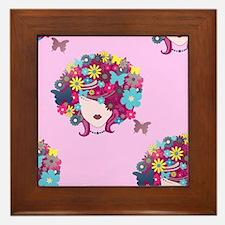 afro floral Framed Tile