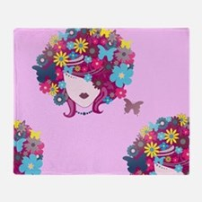 afro floral Throw Blanket