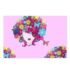afro floral Postcards (Package of 8)