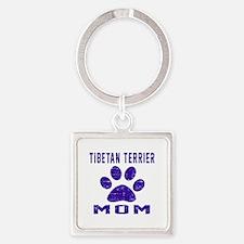 Tibetan Terrier mom designs Square Keychain