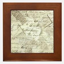 manuscript collage Framed Tile