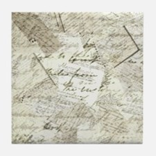 manuscript collage Tile Coaster