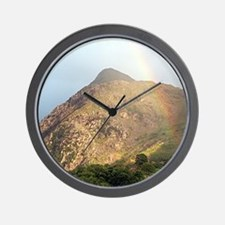 Welsh mountain and rainbow Wall Clock
