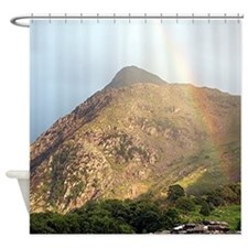 Welsh mountain and rainbow Shower Curtain