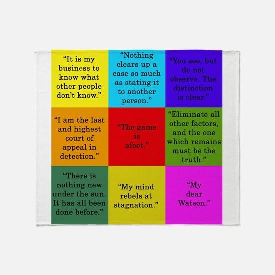Sherlock Holmes Quotes Throw Blanket