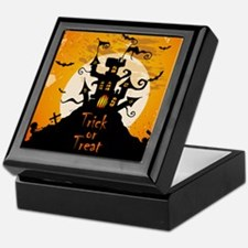 Castle On Halloween Night Keepsake Box
