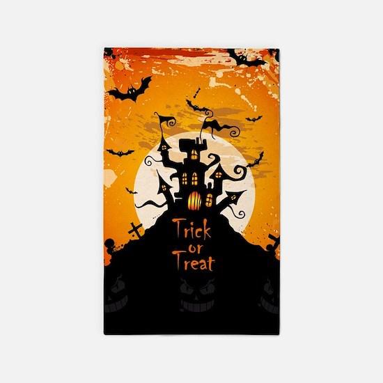 castle on halloween night area rug - Halloween Rugs
