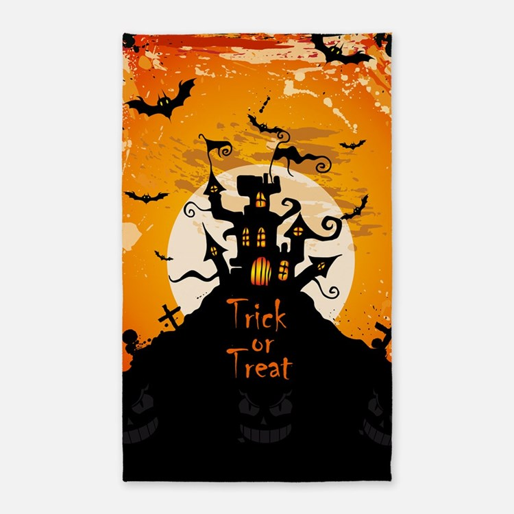 Castle On Halloween Night Area Rug