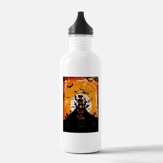 Castle On Halloween Night Sports Water Bottle