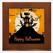 Castle On Halloween Night Framed Tile