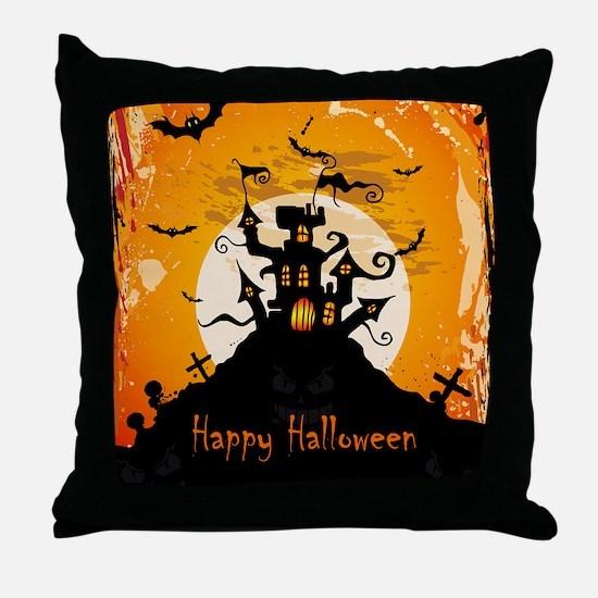 Castle On Halloween Night Throw Pillow