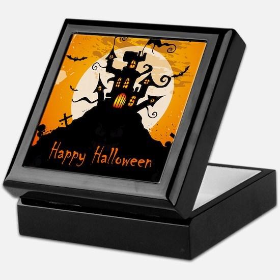 Castle On Halloween Night Keepsake Box