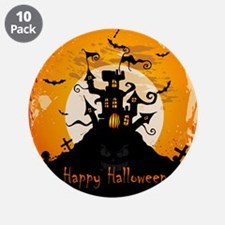 """Castle On Halloween Night 3.5"""" Button (10 pack)"""