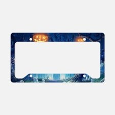 Halloween Night In Cemetery License Plate Holder