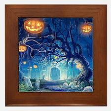 Halloween Night In Cemetery Framed Tile