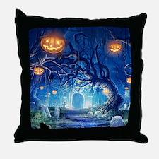 Halloween Night In Cemetery Throw Pillow