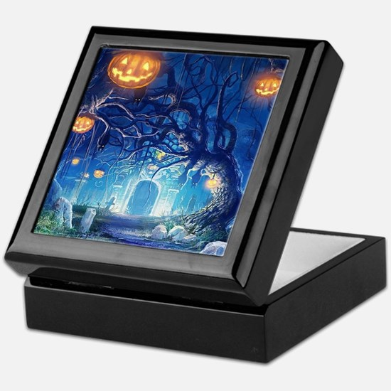 Halloween Night In Cemetery Keepsake Box