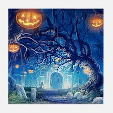 Halloween Night In Cemetery Tile Coaster