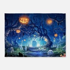 Halloween Night In Cemetery 5'x7'Area Rug