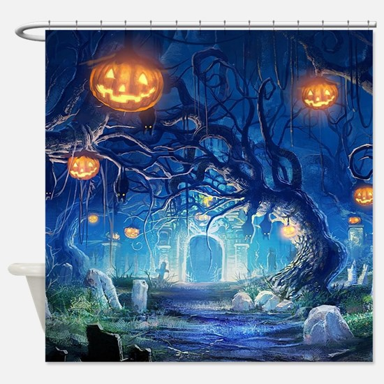 Halloween Night In Cemetery Shower Curtain